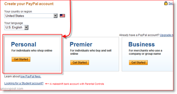 Create a Personal PayPal Account