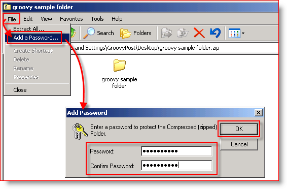 Built-In Compression Windows XP - Add Password