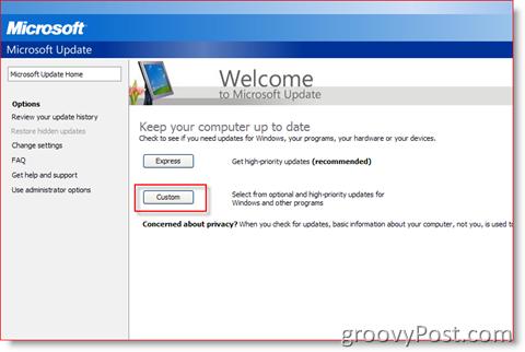 Windows Update Website