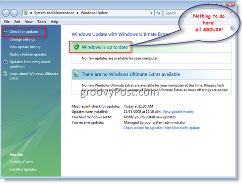 Windows Update Menu for Windows Vista