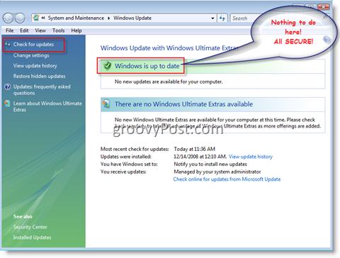 Windows Update Menu for Windows Vista