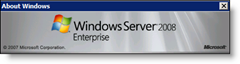 Windows Server 2008 Enterprise About Screen