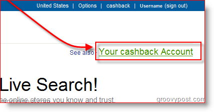 Live.com Search Cashback Account