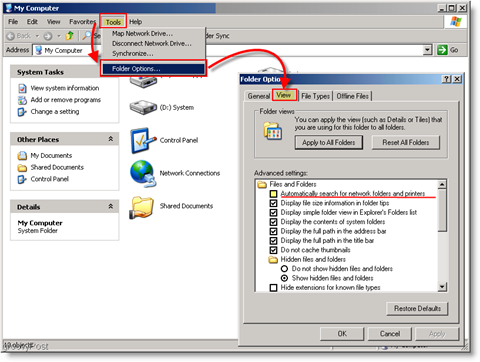 Automatically search for network folders and printers