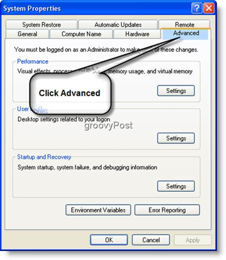 System Properties Advanced Settings Windows XP