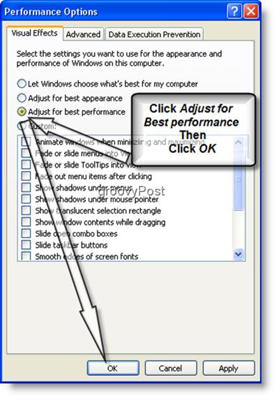 Windows XP Adjust for best performance