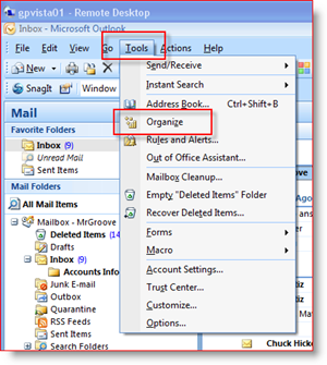Organize Microsoft Outlook Inbox using Colors