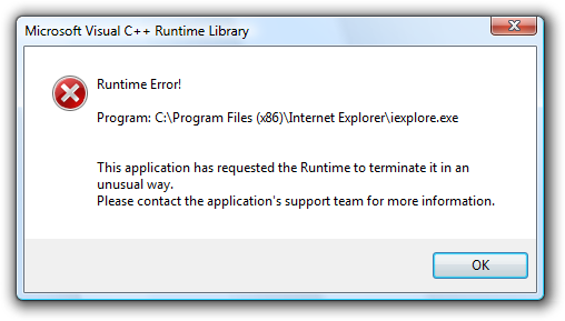 Internet Explorer 8 (IE8) Microsoft Visual C++ Runtime Library: Runtime Error!