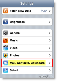 Apple iPhone open Mail, Contacts and Calendars