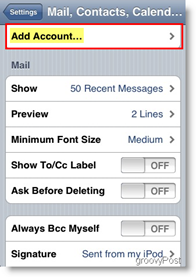 Apple iPhone and iPod Touch Add Mail Account