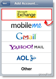 Apple iPhone and iPod Touch Add Mail Exchange Server ActiveSync