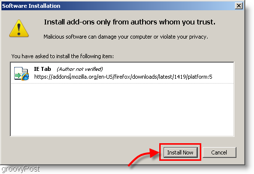 Click the Install Now button to install IE Tab