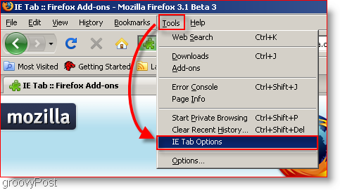 Find the IE tab Options