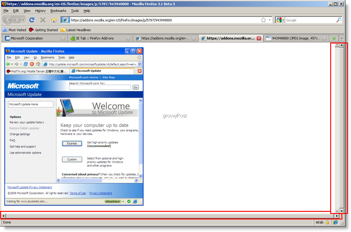 IE tab isn't perfect, but it works