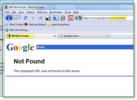 Google TOS broken link
