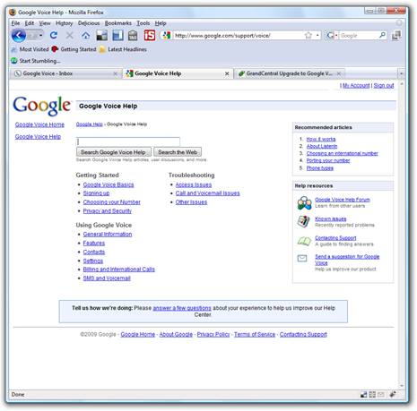 Google Voice Help Page
