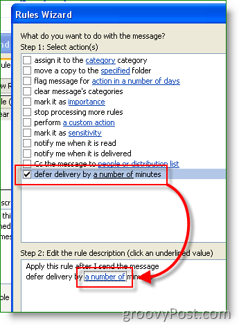 Outlook Rule - Set Defer delivery time