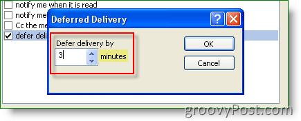 Outlook Rule - Set Defer delivery time