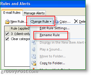 Rename an Outlook Rule