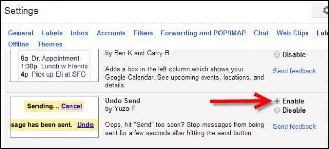 Enable Undo Send via Gmail Labs