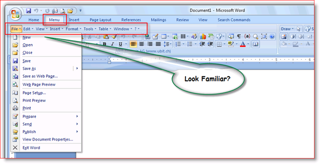 Office 2007 Toolbar after UBitMenu