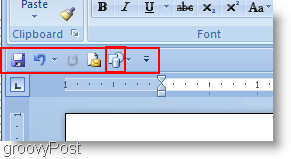 Microsoft Word 2007 shapes added to the quick access menu and moved below ribbon