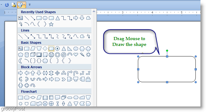 Microsoft Word 2007 Draw the shape by dragging the mouse