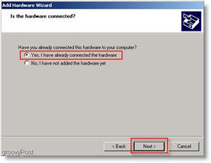 Windows Add Hardware Yes Bullet