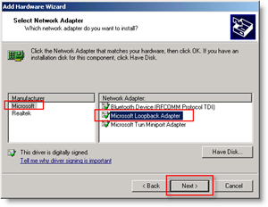 Windows Add Hardware Wizard : Add Loopback Network Adapter