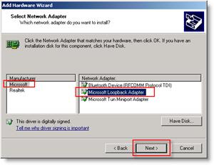 Windows Add Hardware Wizard : Add Loopback Network Adapter