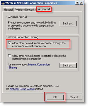 Wireless Advanced Settings configuration