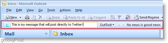 Twitter inside Outlook OutTwit outlook box