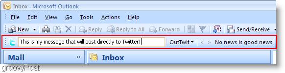 Twitter inside Outlook OutTwit outlook box