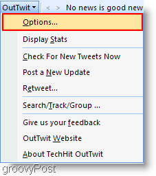 Twitter inside Outlook : Configure OutTwit