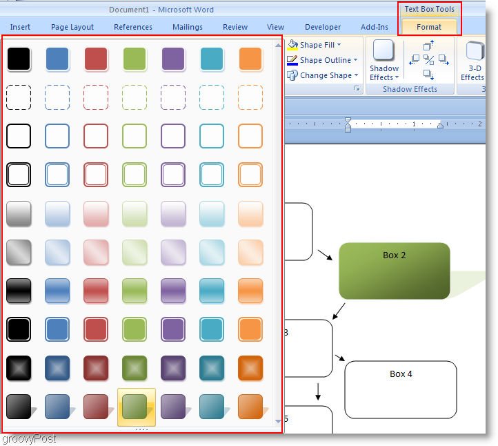 Microsoft Word 2007 Format Shapes