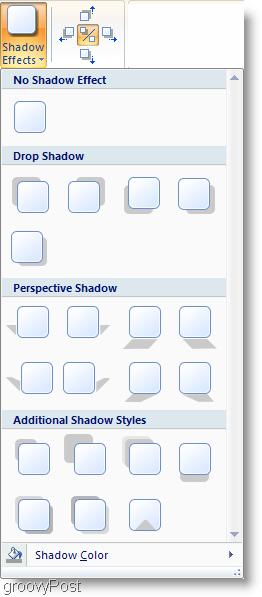 Microsoft Word 2007 Shadow Effects