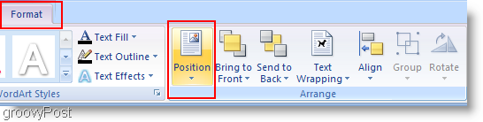 Microsoft Word 2007 Change Position