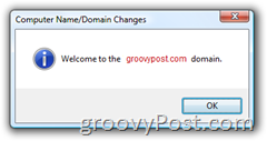 Windows Vista Join an Active Directory AD Domain Welcome Screen