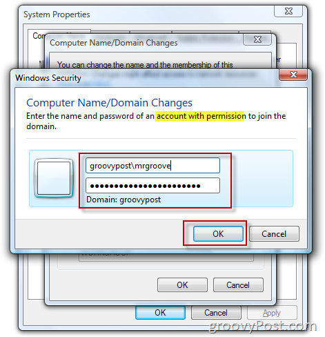 how to change domain user password in windows 7