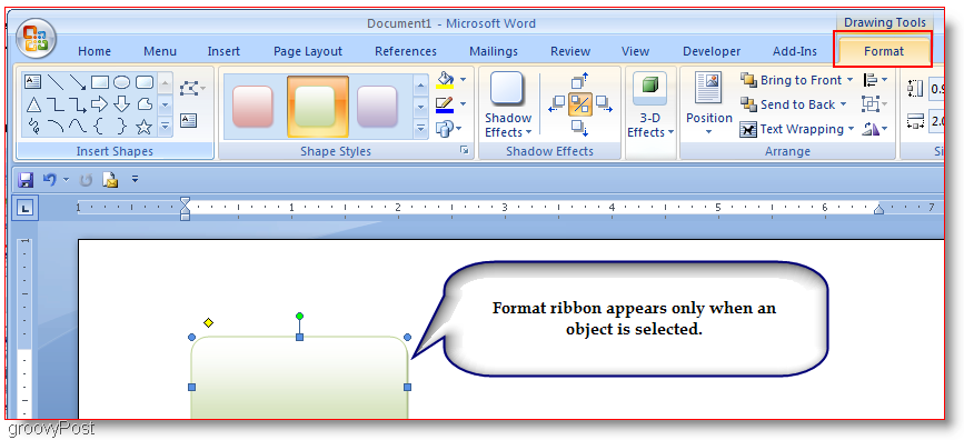 Word 2007 Insert Shapes Microsoft Word 2007 Format Tab  Flow Chart Format In Word