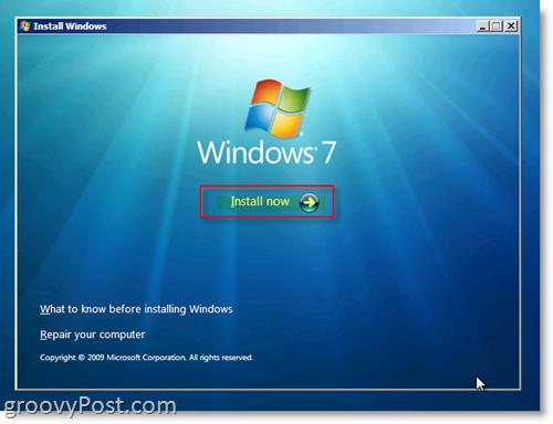 Windows 7 Install Menu