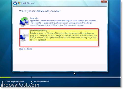 Windows 7 Install Options