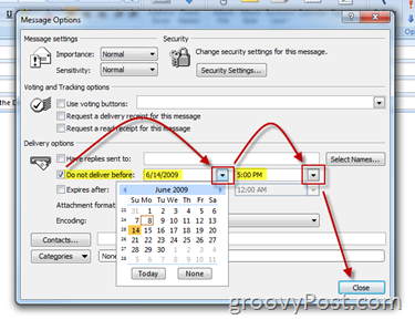 Outlook Message Options Dialog Box Set Defer=