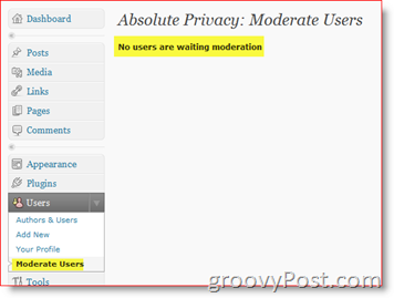 Absolute Privacy Moderate Users- Private WordPress Blog Plugin