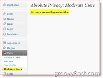 Absolute Privacy Moderate Users- Private WordPress Blog Plugin