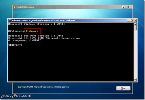 Windows 7 Native VHD Install Dual Boot Launch Diskpart 6.1.7048 from CMD Prompt to build VHD file