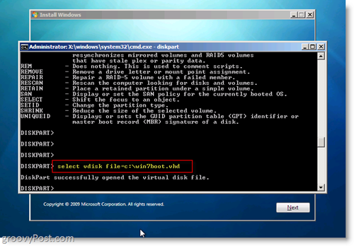 Windows 7 Native VHD Install Dual Boot Select VHD from CMD Prompt