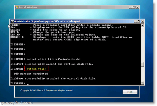 Windows 7 Native VHD Install Dual Boot Attach VHD from CMD Prompt
