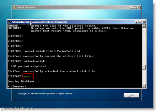 Windows 7 Native VHD Install Dual Boot Exit CMD Prompt