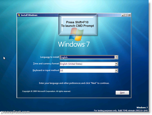 Windows 7 Install - Launch CMD Prompt using Shift + F10